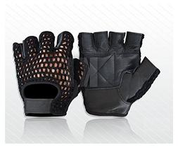 WEIGHT LIFTING PADDED LEATHER GLOVES FITNESS EXERCISE TRAINI