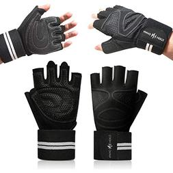 Nano Hertz Weight-Lifting Workout Gloves with Wrist Wraps |