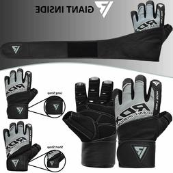 RDX Men Weight Lifting/ Workout/ Fitness Gym Gloves Long Wri