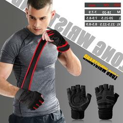 Men Women Gym Gloves With Wrist Wrap Support For Weight Lift