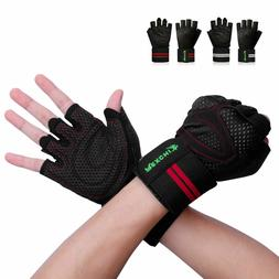 Men Women Support Workout Wrist Wrap Gloves Gym Lifting Weig