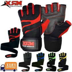 Men Weightlifting Gloves With Wrist Wrap Weight Workout Gym/