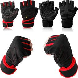 Men Wrist Wrap Workout Gym Gloves For Weight Lifting /Fitnes