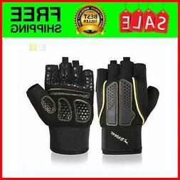 New Double Protection Weight Lifting Gloves, Padded Gym Glov