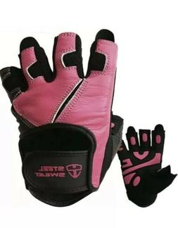 NEW Steel Sweat Scarr Leather Gloves Weight Lifting Pink & B
