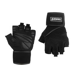 "Trideer Padded Anti-Slip Weight Lifting Gloves with 18"" Wr"