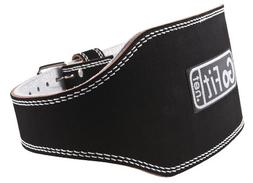GoFit 6-Inch Padded Etched Leather Weightlifting Belt
