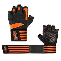 """Trideer Padded Weight Lifting Gloves with 18"""" Wrist Wraps"""