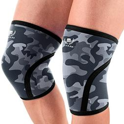 Mava Sports Pair of Knee Compression Sleeves Neoprene 7mm fo