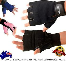 Pro Leather Mesh GEL Padded Gloves Gym Wear Exercise Workout