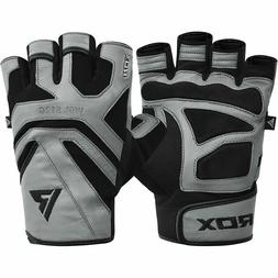 RDX S12 Leather Weightlifting Workout Gym Gloves, Multiple S