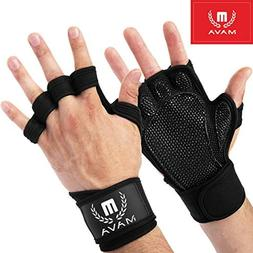 Mava Sports Silicon Padded Workout Hand Grips Weight Lifting