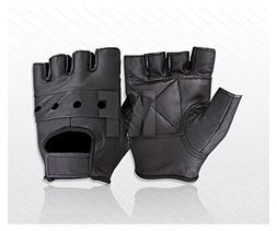 New Soft Leather Fingerless Mens Weight Training Gloves Blac