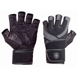 Harbinger Training Grip WristWrap Glove,Black/Grey ,Medium