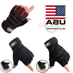 US Women/Men Gym Gloves With Wrist Wrap Workout Weight Lifti