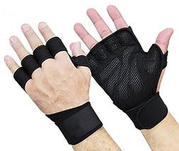 New Ventilated Workout Exercise GYM Gloves with Built-In Wri