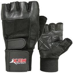Weight Lifting Gloves Cowhide Leather Fitness Glove Gym Trai