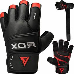RDX Weight Lifting Gloves Gym Fitness Training Long Straps B