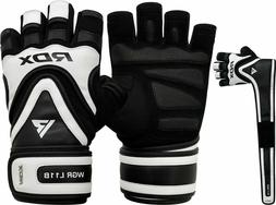 RDX Weight Lifting Gloves Gym Workout Long Strap Training Bo