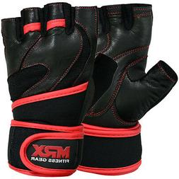 Weight Lifting Gloves Leather Workout Gym Exercise Training