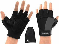 ProFitness Weight Lifting Gym Gloves  | Large, Black/Black