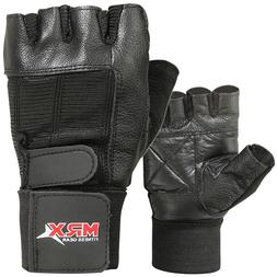 Weight Lifting Gym Gloves Fitness Training Workout Leather E