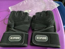 BEACE Weight Lifting Gym Gloves w/ Anti-Slip Leather Palm fo
