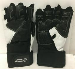 Steel Sweat Weightlifting Gloves - 18 inch Wrist Wrap Suppor