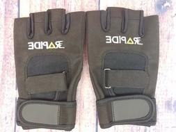 Rapide Weightlifting Gloves Black Washable Leather With Stra