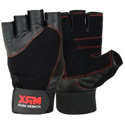 Weightlifting Gloves Genuine Leather Fitness Gym Exercise Me