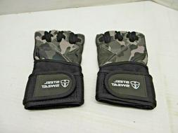 STEEL SWEAT - WEIGHTLIFTING GLOVES - LEATHER GRAY CAMO - SZ