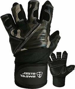 Steel Sweat Weightlifting Gloves with 18-inch Wrist Wrap Sup