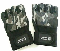 Steel Sweat Weightlifting Gloves with over 18-inch Wrist Wra