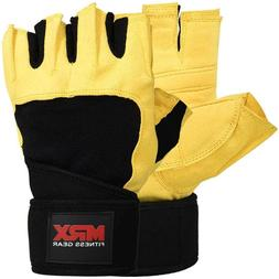 MRX Weightlifting Gloves Wrist Wraps Gym Training Lifting Po