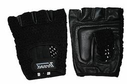 weightlifting training gloves real leather knittedmeshback b