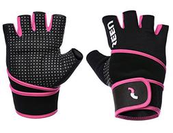 """SEEU WOD Gloves Womens with 17.5"""" Wrist Wrap Support, Pink S"""