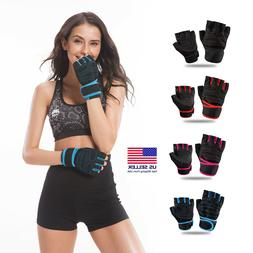 Women Men Gym Gloves With Wrist Wrap Workout Lifting Weight