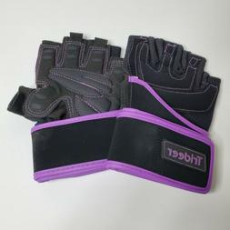 Trideer Women's Workout Weightlifting Gloves Purple and Blac