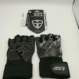 Steel Sweat-Workout Gloves-Zed Leather Lifting Gloves W/ Wri