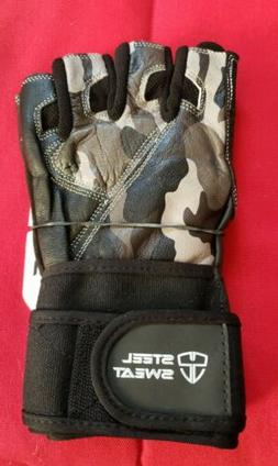 Steel Sweat Workout Gloves Zed Leather Lifting Gloves W/ Wri
