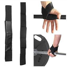 Black Power Cotton Hand Bar Straps Flex Rubber Padded Weight