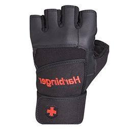 Harbinger Pro Wristwrap Weightlifting Gloves with Vented Cus
